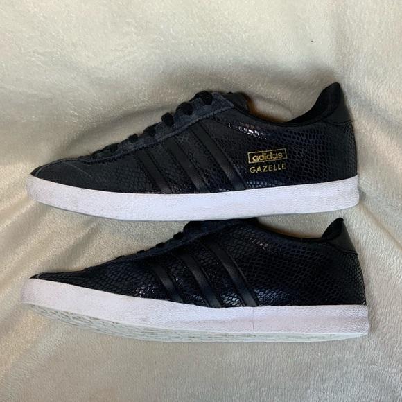 ADIDAS GAZELLE Black Snake Skin Print Shoes